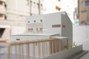 旗竿地に建つ家 グランデザイン 模型